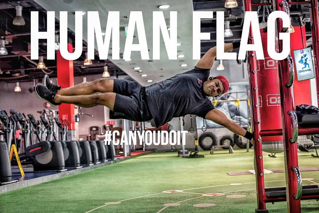 Dubai Fitness First Human Flag by Platinum Personal Fitness Trainer Abhinav Malhotra Get Fit Now