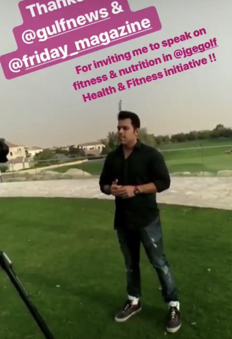 Dubai Top Fitness Trainer Abhinav Malhotra Nutrition talks in Jumeirah Golf Estate Dubai Event Yoga Sundowner organized by Friday Magazine Gulf News